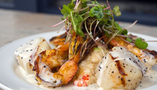 Grilled Diver Scallops, Jumbo Gulf Shrimp, Crawfish-Crabmeat Risotto